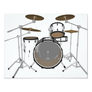 Drums: White Drum Kit: 3D Model: Personalized Invite