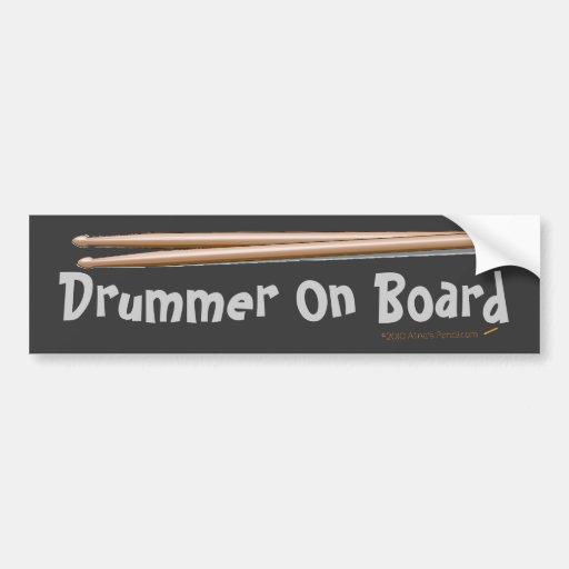 Drumsticks Drummer On Board Bumper Sticker