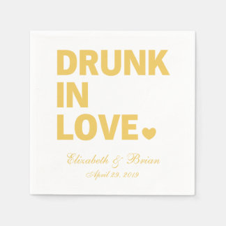"""Drunk in love"" Personalized Golden Wedding Disposable Napkin"