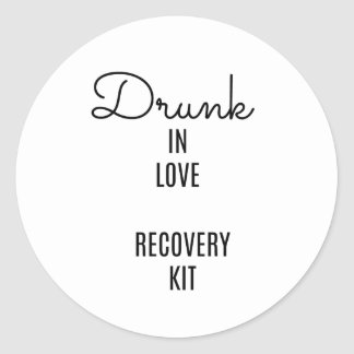 Drunk in Love Recovery Kit, Drinking Label, Favor Classic Round Sticker