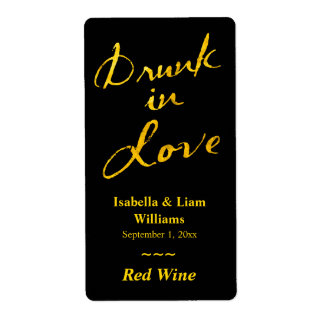 Drunk in Love Wine Label - gold & black Shipping Label
