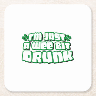 Drunk Irish Beer Funny St. Patrick's Day Square Paper Coaster