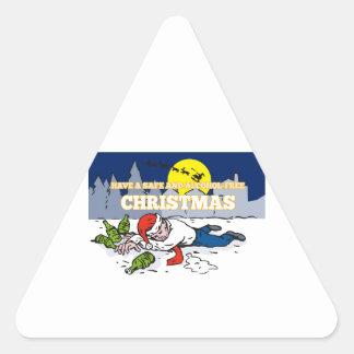 Drunk Man Wearing Santa Hat Triangle Stickers