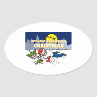 Drunk Man Wearing Santa Hat Oval Sticker