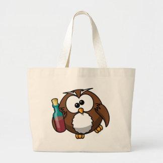 Drunk Owl Large Tote Bag