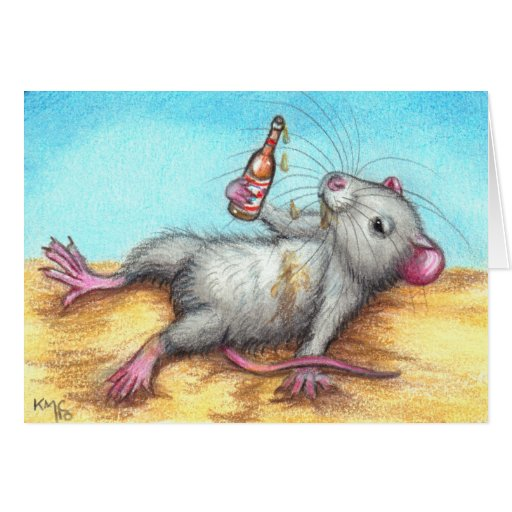 Drunk Rat with Beer Card