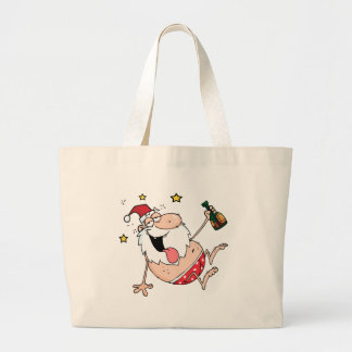 Drunk Santa Claus Large Tote Bag