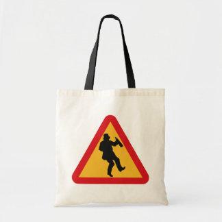 Drunk Warning tote bags