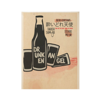 Drunken Angel, Movie Poster, Kurosawa, Mifune Wood Poster