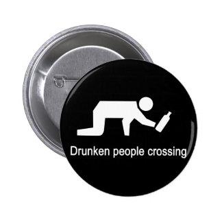 Drunken people crossing ⚠ Thai Sign ⚠ 6 Cm Round Badge