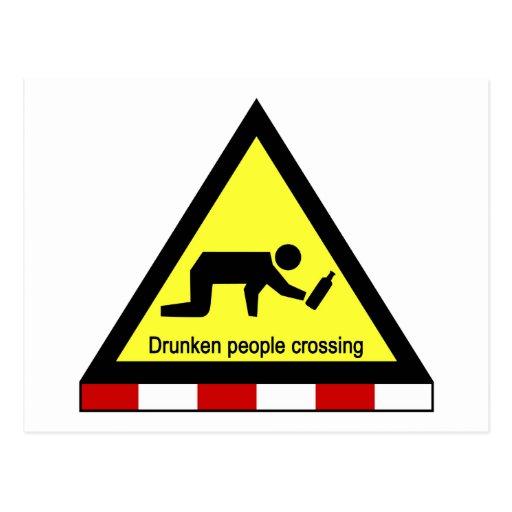 Drunken people crossing ⚠ Thai Sign ⚠ Postcard
