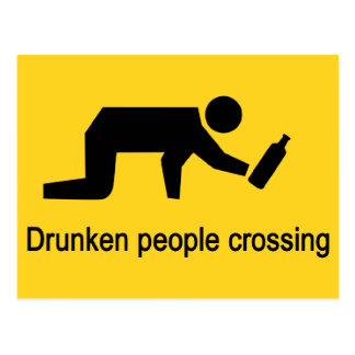 Drunken people crossing ⚠ Thai Sign ⚠ Postcard