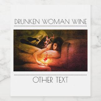 Drunken Woman Wine Bottle Label