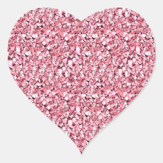 Druzy crystal glitter - rose quartz pink heart stickers