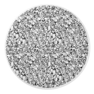 Druzy crystal - silver color ceramic knob