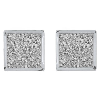 Druzy crystal - white gold color silver finish cufflinks