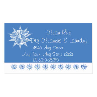 Dry cleaner Laundry - Customer Loyalty Punch Card Business Card Template