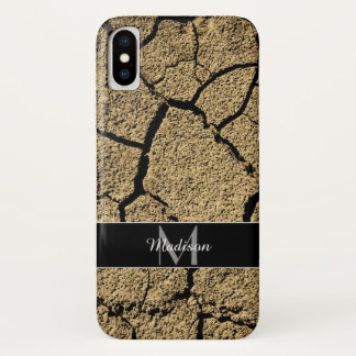 Dry land with cracked earth in drought Monogram iPhone X Case