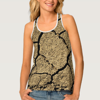 Dry land with cracked earth in drought singlet