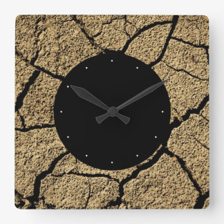 Dry land with cracked earth in drought square wall clock