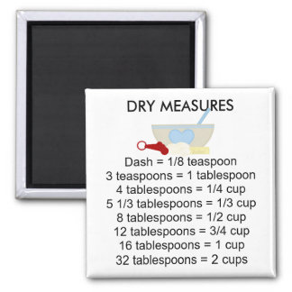 Dry Measure Equivalents Square Magnet
