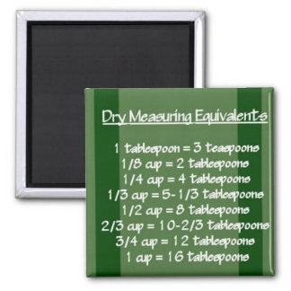 Dry Measuring Equivalents Green Magnet