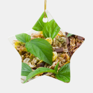 Dry mix of muesli and cereal in a bowl of glass ceramic ornament