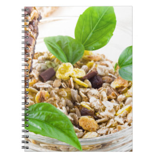 Dry mix of muesli and cereal in a bowl of glass spiral notebook