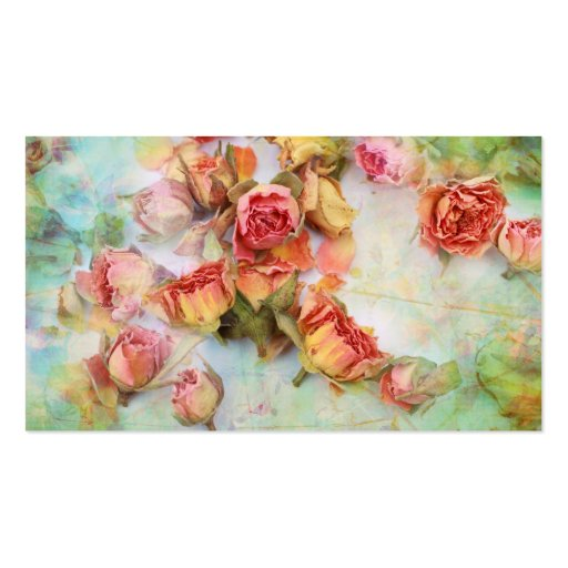 Dry roses on green vintage business card template