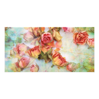 Dry roses on green vintage photo card template