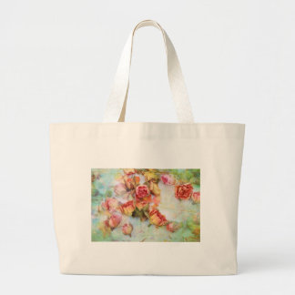 Dry roses on green vintage tote bags