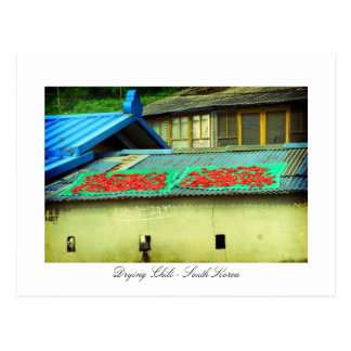 Drying Chili on a rooftop - Southkorea Postcard