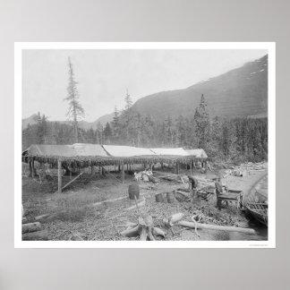 Drying Salmon In Alaska 1915 Poster