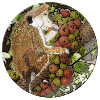 Dryzone Toque Macaque Eating Figs Porcelain Plate