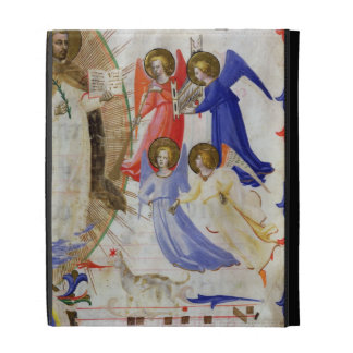 ds 558 f.67v St. Dominic with four musical angels, iPad Folio Covers