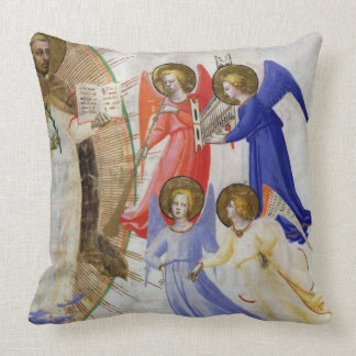 ds 558 f.67v St. Dominic with four musical angels, Throw Pillow