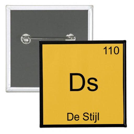 Ds - De Stijl Funny Chemistry Element Symbol Tee Pinback Button