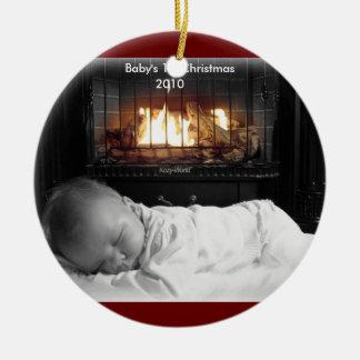 DSC00195, Baby's 1st Christmas, 2010 Round Ceramic Decoration