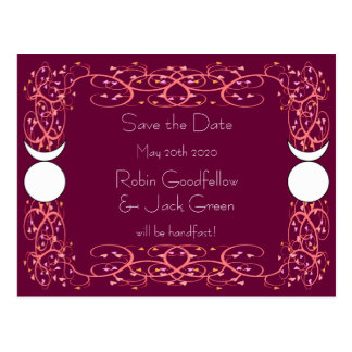 Dual God Gay Wiccan Wedding Save the Date Postcard