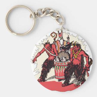 Dual Krampus and Old St. Nick Basic Round Button Key Ring