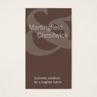 Dual Name Company Brown Tilted Ampersand Business Card