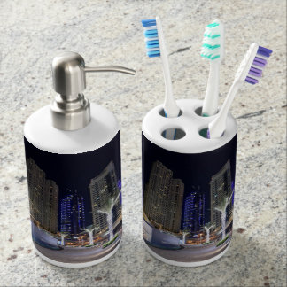 Dubai architecture at night toothbrush holder
