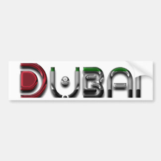 Dubai City UAE Flag Colors Typography Bumper Sticker