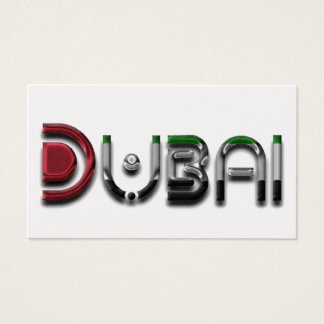 Dubai City UAE Flag Colors Typography Business Card