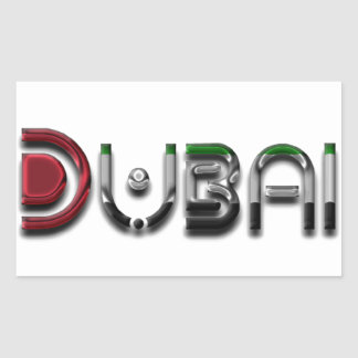 Dubai City UAE Flag Colors Typography Rectangular Sticker