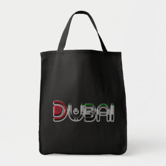 Dubai City UAE Flag Colors Typography Tote Bag