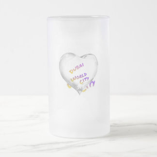 Dubai Heart, world city Frosted Glass Beer Mug