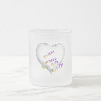 Dubai Heart, world city Frosted Glass Coffee Mug