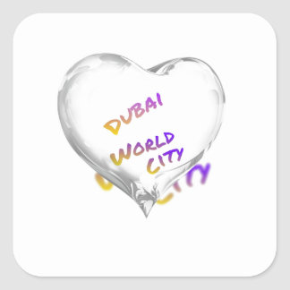 Dubai Heart, world city Square Sticker