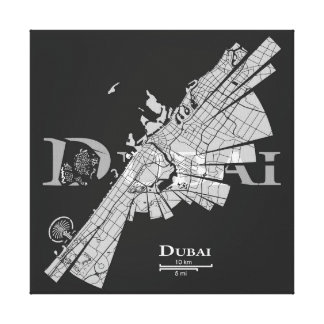 Dubai Map Canvas Gallery Wrapped Canvas